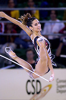 October 18, 2001; Madrid, Spain:  ALMUDENA CID of Spain performs with rope at 2001 World Championships at Madrid.