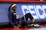 29 December 2016: Notre Dame's Arike Ogunbowale waits to check into the game. The North Carolina State University Wolfpack hosted the University of Notre Dame Fighting Irish at Reynolds Coliseum in Raleigh, North Carolina in a 2016-17 NCAA Division I Women's Basketball game. NC State won the game 70-62.