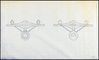 BNPS.co.uk (01202 558833)<br /> Pic: PropStore/BNPS<br /> <br /> Star Trek USS Enterprise NCC-1701 bow and stern.<br /> <br /> Fascinating blueprints from the early Star Wars and Star Trek films have been unearthed.<br /> <br /> An auction house is selling a selection of blueprints which include front elevations of R2-D2, interior and exterior set renderings of the Millennium Falcon and front, side and bottom views of the USS Enterprise as well as USS Enterprise set plans.<br /> <br /> The blueprints - many of which have never before been seen by the public - provide a unique insight to fans of the iconic films about how they were made.