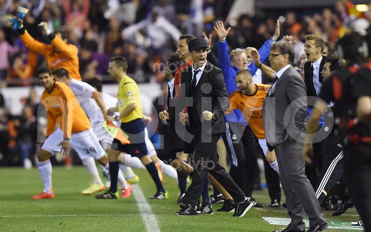FUSSBALL  INTERNATIONAL Copa del Rey FINALE  2013/2014    FC Barcelona - Real Madrid            16.04.2014 SCHLUSSJUBEL Real Madrid; Cristiano Ronaldo (Mitte)
