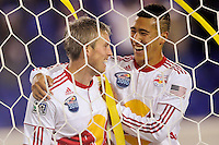 John Wolyniec (15) of the New York Red Bulls celebrates scoring his second goal of the game with Connor Chinn (25). The New York Red Bulls defeated the New England Revolution 3-0 during a U. S. Open Cup qualifier round match at Red Bull Arena in Harrison, NJ, on May 12, 2010.