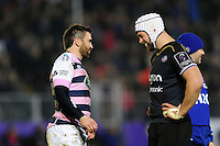 Nicky Robinson of Cardiff Blues and Dave Attwood of Bath Rugby have a laugh during a break in play. European Rugby Challenge Cup match, between Bath Rugby and Cardiff Blues on December 15, 2016 at the Recreation Ground in Bath, England. Photo by: Patrick Khachfe / Onside Images