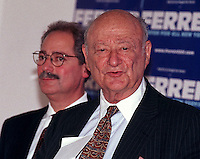 Former NYC Mayor Edward I. Koch (R) endorses Mayoral Candidate Fernando Ferrer (L) for mayor on October 2, 2001. Koch, who is popular with Jewish and other voters said that he believes that Ferrer would make a better mayor than his opponent, Mark Green. Ferrer and Green face a run off election since neither acheved 40% of the votes in the primary. (© Richard B. Levine)
