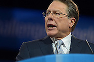 March 14, 2013  (National Harbor, Maryland)  Wayne LaPierre, CEO of the National Rifle Association, addresses attendees of the 2013 Conservative Political Action Conference (CPAC) in National Harbor, MD.  (Photo by Don Baxter/Media Images International)