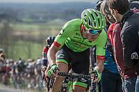 Sep Vanmarcke (BEL Cannondale-Drapac Pro Cycling Team) on top of the Paterberg<br /> <br /> 72nd Dwars Door Vlaanderen (1.UWT)<br /> 1day race: Roeselare &rsaquo; Waregem BEL (203.4km)72nd Dwars Door Vlaanderen (1.UWT)<br /> 1day race: Roeselare &rsaquo; Waregem BEL (203.4km)