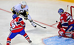 3 February 2009: Pittsburgh Penguins' left wing forward Luca Caputi (61) scores in the first period on Montreal Canadiens' goaltender Carey Price at the Bell Centre in Montreal, Quebec, Canada. The Canadiens defeated the Penguins 4-2. ***** Editorial Sales Only ***** Mandatory Photo Credit: Ed Wolfstein Photo