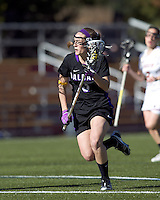 University at Albany attacker Taylor Frink (3) on the attack. University at Albany defeated Boston College, 11-10, at Newton Campus Field, on March 30, 2011.
