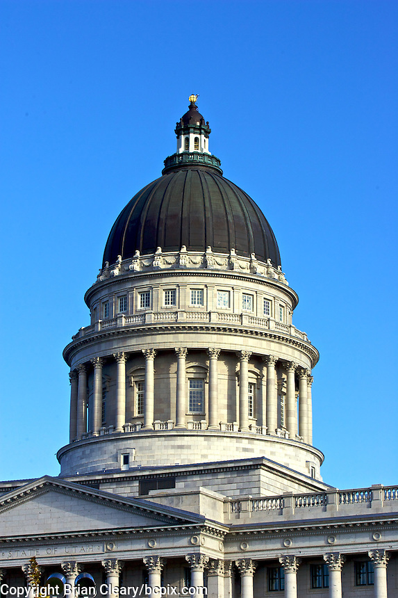 Dome, architectural detail, State Capital Building, Salt Lake City, Utah, September 19, 2009.  (Photo by Brian Cleary/www.bcpix.com)