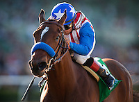 Eden's Moon, with jockey Martin Garcia aboard wins the 2012 Las Virgines Stakes at Santa Anita Park in Arcadia California on March 03, 2012.