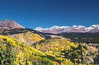 Islands of autumn color scattered across the San Juan Mountains of southwest Colorado near the old mining town of Silverton.