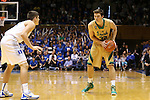 16 January 2016: Notre Dame's Steve Vasturia (32) and Duke's Grayson Allen (left). The Duke University Blue Devils hosted the University of Notre Dame Fighting Irish at Cameron Indoor Stadium in Durham, North Carolina in a 2015-16 NCAA Division I Men's Basketball game. Notre Dame won the game 95-91.