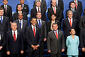 United States President Barack Obama, center left, poses for a group photo with the heads of delegations attending the Nuclear Security Summit at the Washington Convention Center in Washington, D.C., U.S., on Tuesday, April 13, 2010. Ukraine's agreement to relinquish its entire stockpile of highly enriched uranium gave Obama the first concrete result for a summit he convened on securing the world's atomic material..Credit: Andrew Harrer / Pool via CNP