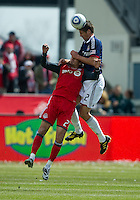 02 April 2011: Chivas USA defender Andrew Boyens #2 and Toronto FC forward Alan Gordon #21 in action during an MLS game between Chivas USA and the Toronto FC at BMO Field in Toronto, Ontario Canada..The game ended in a 1-1 draw...