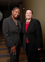 UWRF McNair/Academic Success Center staff Njia Lawrence-Porter, Interim Director, McNair, left; and Jennifer Willis-Rivera, interim director, Academic Success Center, right.
