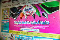 Back to school supplies are seen on the website of Staples on Monday, July 19, 2010. An estimated 30.8% of households will shop online this year compared with 22.2% last year. (© Richard B. Levine).