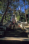 Asia, Nepal, Kathmandu. 365 steps to entrance of Swayambhunath Stupa, the Monkey Temple in Kathmandu.