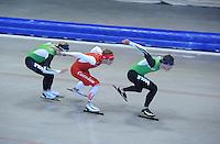 SCHAATSEN: HEERENVEEN: IJsstadion Thialf, 17-06-2013, Training zomerijs, Team Pursuit, Koen Verweij, Jan Blokhuijsen, Sven Kramer, ©foto Martin de Jong