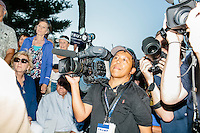 The media waits for real estate mogul and Republican presidential candidate Donald Trump to greet supporters at a rally at the Weirs Beach Community Center in Laconia, New Hampshire.