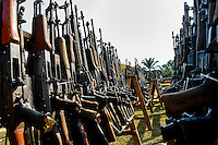 Machine guns that belonged to the demobilized Colombian paramilitary forces (AUC) in a jungle settlement Casibare, Meta Department, Colombia, 10 April 2006.