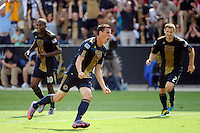 Sebastien Le Toux (9) of the Philadelphia Union celebrates scoring during the first half of a Major League Soccer (MLS) match against the New England Revolution at PPL Park in Chester, PA, on July 31, 2010.