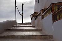 Prayer Wheel in Stakna Monastery or Stakna Gonpa. Ladakh,  Jammu and Kashmir, India.