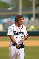 Down East Wood Ducks outfielder Ledarious Clark (8)  during a game against the Salem Red Sox at Grainger Stadium on April 16, 2017 in Kinston, North Carolina. Salem defeated Down East 9-2. (Robert Gurganus/Four Seam Images)