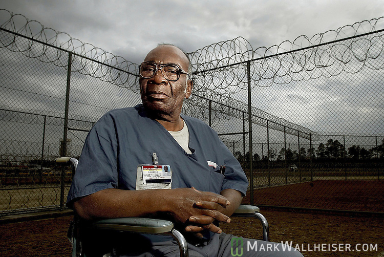 Daniel Mathis, who was convicted of murder and sentanced to life in the 1970s slaying of a Panama city man during a bar fight, sits inside Gulf Correctional Annex north of Wewahitchka, Florida .