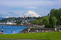 A perfect Northwest Saturday afternoon in June w/Mt. Rainer &quot;out&quot; as seen from the Ruston Way waterfront in Tacoma during the 2010 Rainer to Ruston relay race.