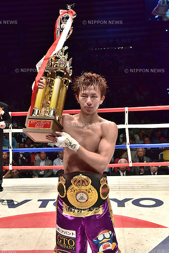 Ryoichi Taguchi (JPN),<br /> MAY 6, 2015 - Boxing :<br /> Ryoichi Taguchi of Japan poses with his champion belt and trophy after winning the WBA light flyweight title bout at Ota-City General Gymnasium in Tokyo, Japan. (Photo by Hiroaki Yamaguchi/AFLO)