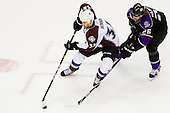 Daniel Winnik (Colorado Avalanche, #34) vs Michal Handzus (Los Angeles Avalanche, #26) during ice-hockey match between Los Angeles Kings and Colorado Avalanche in NHL league, Februar 26, 2011 at Staples Center, Los Angeles, USA. (Photo By Matic Klansek Velej / Sportida.com)