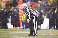 Referee John Parry picks up a bottle of water that was thrown onto the field in the second half between the Pittsburgh Steelers and the Cincinnati Bengals during the Wild Card playoff game at Paul Brown Stadium on January 9, 2016 in Cincinnati, Ohio. (Photo by Jared Wickerham/DKPittsburghSports)