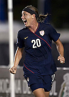 Abby Wambach celebrates. USWNT vs Costa Rica in the 2010 CONCACAF Women's World Cup Qualifying tournament held at Estadio Quintana Roo in Cancun, Mexico on November 8th, 2010.