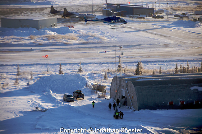 Polar bear being loaded into the sling below the helicopter to be flown from Churchill compound / jail