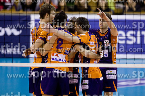 Players of ACH celebrate at volleyball match of CEV Indesit Champions League Men 2009/2010 between ACH Volley Bled (SLO) and Istanbul Buyuksehir BLD (TUR), on December 9, 2009 in Arena Tivoli, Ljubljana, Slovenia. (Photo by Vid Ponikvar / Sportida)
