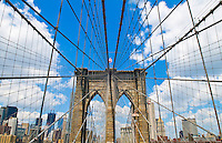 Architctural details of the Brooklyn bridge in New York city