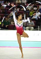 01 OCTOBER 1999 - OSAKA, JAPAN: Viktoria Danova of Bulgaria performs with ribbon at the 1999 World Championships in Osaka, Japan.  Viktoria placed 16th in the individual all-around.
