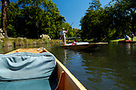 Punting down the Avon River through the Christchurch Botanic Gardens, Christchurch, New Zealand