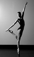 Marissa Maffiolini, a dance student at Dean College, practices en pointe. (©Matt Wright 2011)