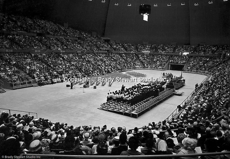 Pittsburgh PA:  View of the choir and attendees at the annual Easter Sunrise Services held at the Civic Arena - 1962.  The Council of Churches staged the event that included members of local Catholic, Presbyterian, Lutheran, Baptist and other denominations in the Pittsburgh Area.  This year the the roof was not opened due to weather.<br /> The Council of Churches was a merger of three local groups; Allegheny County Sabbath School Association, the Pittsburgh Council of Churches and the Council of Weekday Religious Education.  The council's objection was to better relate and understand other religions including the local Jewish, African American, Catholic and Christian churches in the downtown Pittsburgh area.