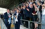 St Johnstone FC Player of the Year Awards...18.05.14<br /> Tommy Wright and Dave Mackay are applauded as they carry the Scottish Cup<br /> Picture by Graeme Hart.<br /> Copyright Perthshire Picture Agency<br /> Tel: 01738 623350  Mobile: 07990 594431