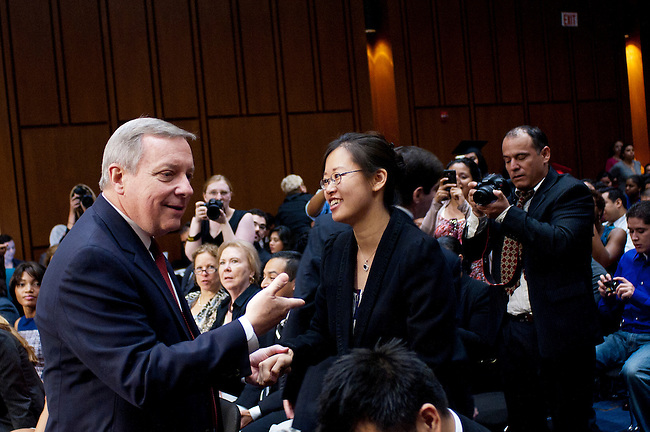 Senator DICK DURBIN (D-IL) greets TEREZA LEE before a Senate Judiciary Committee hearing on &quot;The DREAM (Development, Relief and Education for Alien Minors) Act.&quot; Ten years ago LEE had been accepted into several of the country's most prestigious music conservatories. But her parents had brought her to the United States when she was two, and she was undocumented. That spurred DURBIN to begin work on the DREAM Act ten years ago.