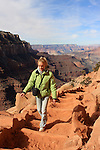 Woman hiking on South Kaibab Trail