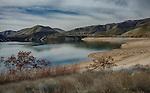 Idaho, Southwest, Boise. Lucky Peak Reservoir. Low water in winter at Lucky Peak Reservoir.