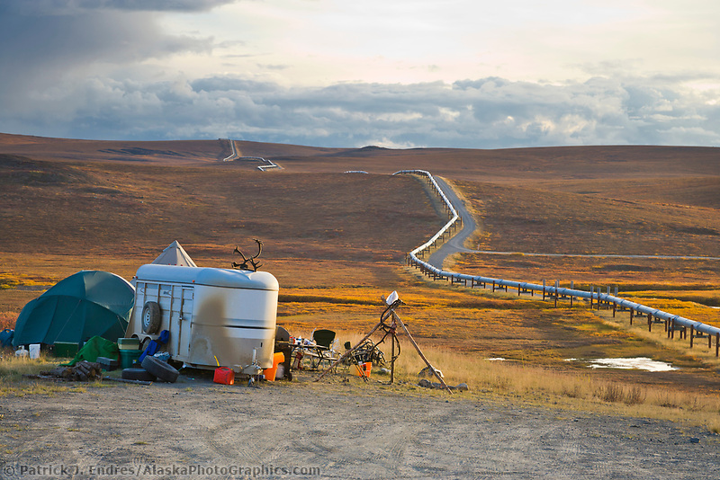 Caribou hunter's roadside camp along the James Dalton Highway and the Trans Alaska Oil Pipeline, arctic, Alaska.