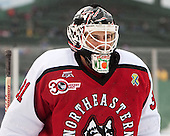 Clay Witt (NU - 31) - The Northeastern University Huskies defeated the University of Massachusetts Lowell River Hawks 4-1 (EN) on Saturday, January 11, 2014, at Fenway Park in Boston, Massachusetts.