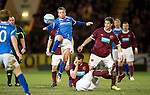 Hearts v St Johnstone...14.02.12.. Scottish Cup 5th Round Replay.Jody Morris battles with Rudi Skacel .Picture by Graeme Hart..Copyright Perthshire Picture Agency.Tel: 01738 623350  Mobile: 07990 594431