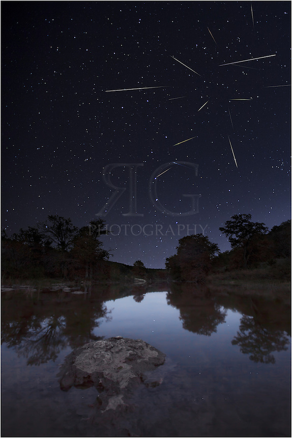 I don't like to lose sleep, but sometimes you have to in order to capture the images you want. This particular photograph from Pedernales Falls State Park in the Texas Hill Country was taken from the hours of 2am to 5am. I set up my camera and let it continuously take photos, hoping to capture the shooting stars of the Leonid Meteor Shower from November 17th. This final picture is a composite of the meteors that rained down in the early hours of that cold morning.<br />