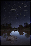 This image from Pedernales Falls state park and the Leonids meteor shower was taken in the wee hours of the morning on November 17th. From 2am to 5am, I let the camera take images continuously, then went home and merged the photos that had meteors. This image of Pedernales Falls State Park under the Leonid meteor shower is a composite of 16 images.