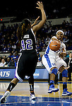 Sophomore guard Bria Goss passes the ball across the key at the Women's Basketball game at Memorial Coliseum in Lexington, Ky., on Saturday, November. 17, 2012..
