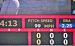 3 July 2010: Washington Nationals starting pitcher Stephen Strasburg has his velocity clocked on the scoreboard at 99 miles per hour during a game against the New York Mets at Nationals Park in Washington, DC. Strasburg pitched a no-decision as the Nationals rallied in the bottom of the 9th to defeat the Mets 6-5 in the third game of their 4-game series. Mandatory Credit: Ed Wolfstein Photo